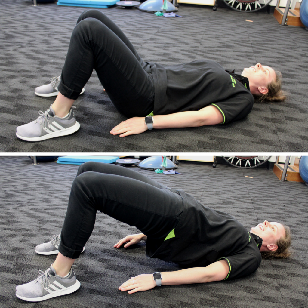 An Exercise Physiologist at Your Health Hub doing glute bridges