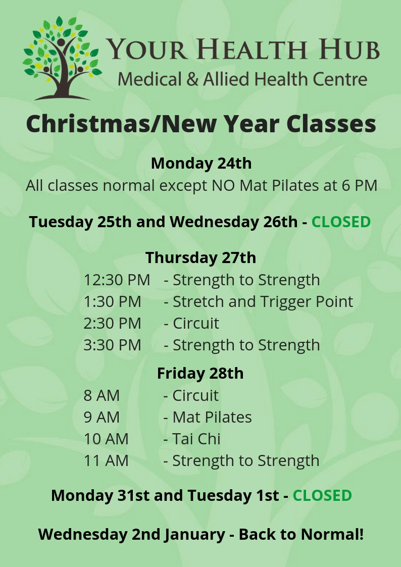 Classes at Your Health Hub December 2018