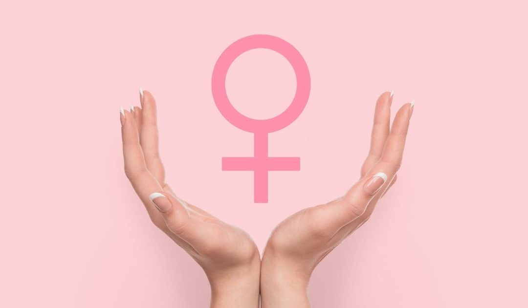 Female sign covered by two hands