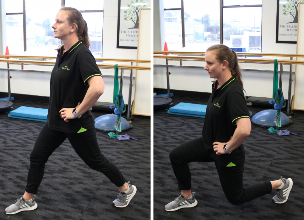 An Exercise Physiologist at Your Health Hub doing lunges
