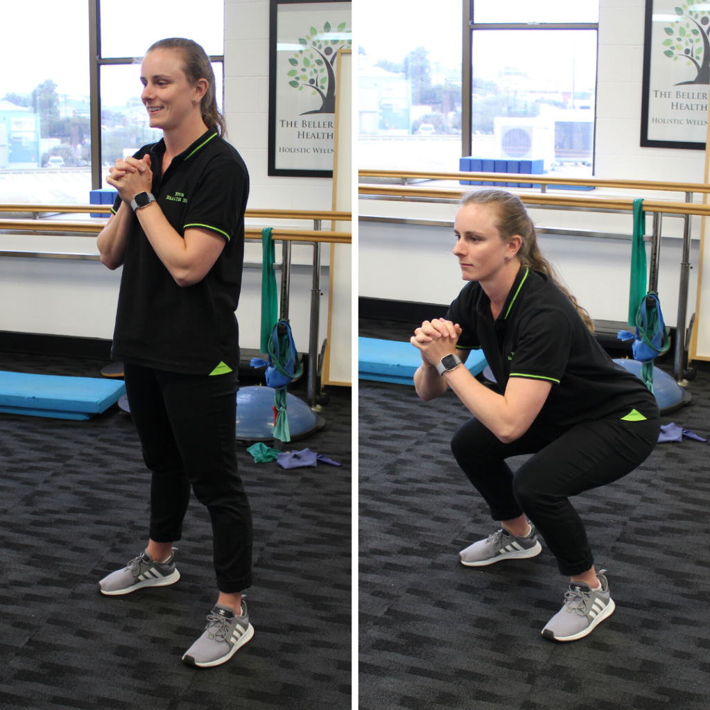 An Exercise Physiologist at Your Health Hub doing squats
