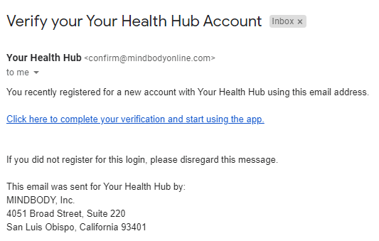 Verification Email from Your Health Hub app